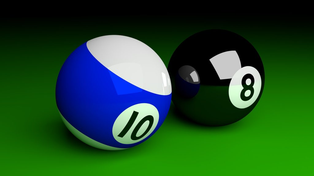 10 and 8 billiard balls