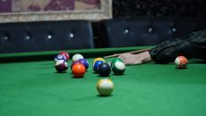 pool cue and pool ball